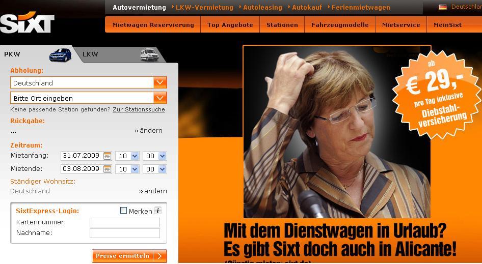 Sixt wirbt mit einer nachdenklichen Ulla Schmidt