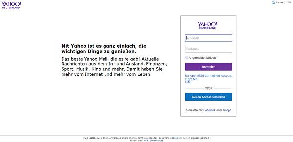 Yahoo Mail anmelden