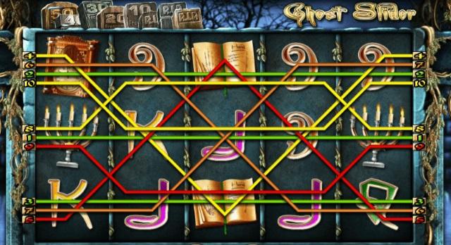 Die zehn Gewinnlinien bei Ghost Slider.