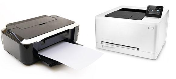 Tintenstrahldrucker und Laserdrucker